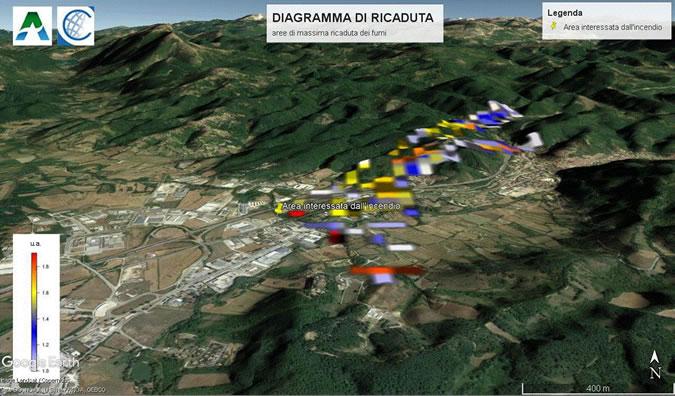 Nell'immagine la mappa con la simulazione della ricaduta dei fumi dell'incendio sul territorio