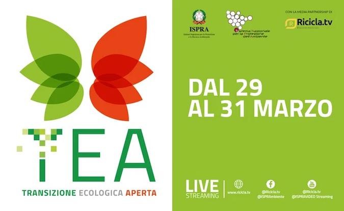 immagine con il logo TEA, transizione ecologica aperta e le date degli incontri dal 29 al 31 marzo 2021
