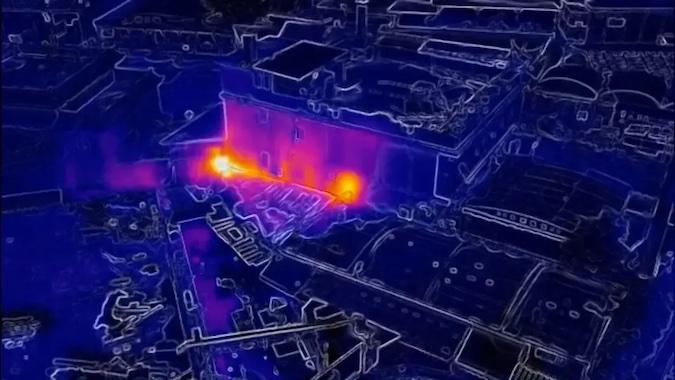 nella foto un esempio di termo-scansione eseguita con il drone DJI Mavic Enterprise